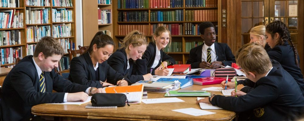 A group of 4th Formers in the library