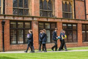 Pupils walking across the Quad