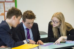 A group of Sixth Form students working together