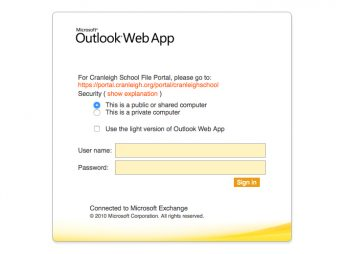Screenshot of Outlook Web Access