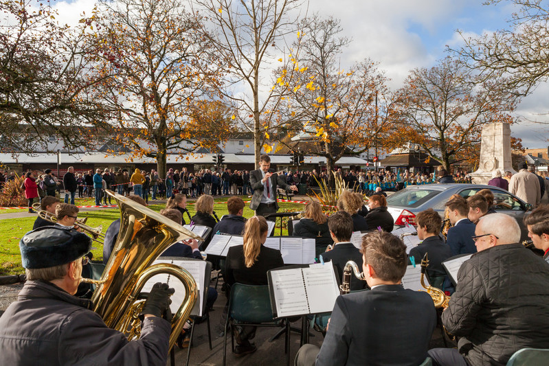 Cranleigh Symphonic Wind Band play at village Remembrance