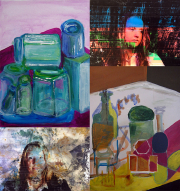 Collage of paintings and photo-transfers produced on the day